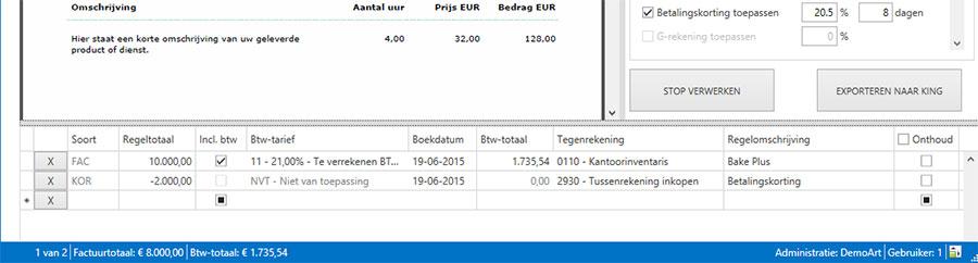 Betalingskorting verwerken in Factuur2King