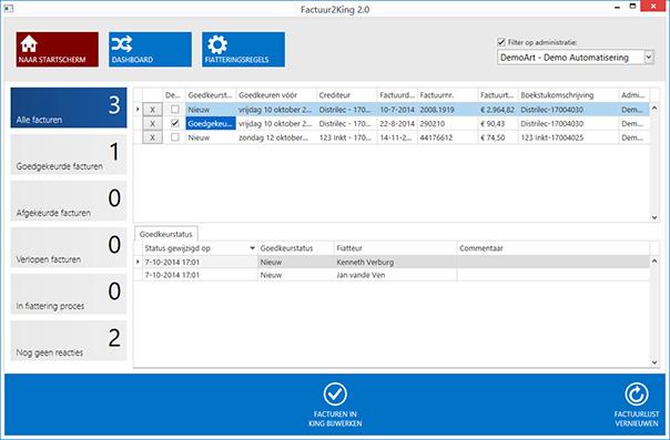Bekijk de status van de te fiatteren facturen in het dashboard