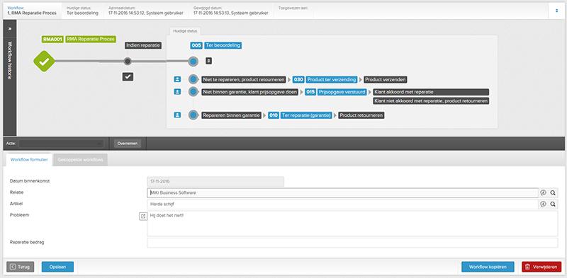 Voorbeeld RMA workflow